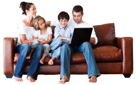 family using schoolfront at home
